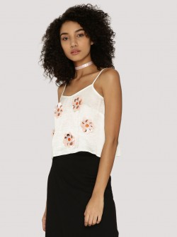 KOOVS Flower Embellished Cami Top
