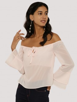 KOOVS Tie-Up Off Shoulder Top