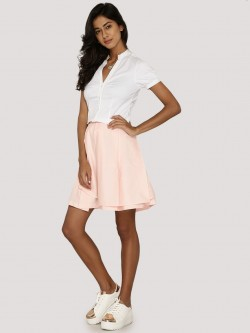 KOOVS Pleated Overlay Skater Skirt