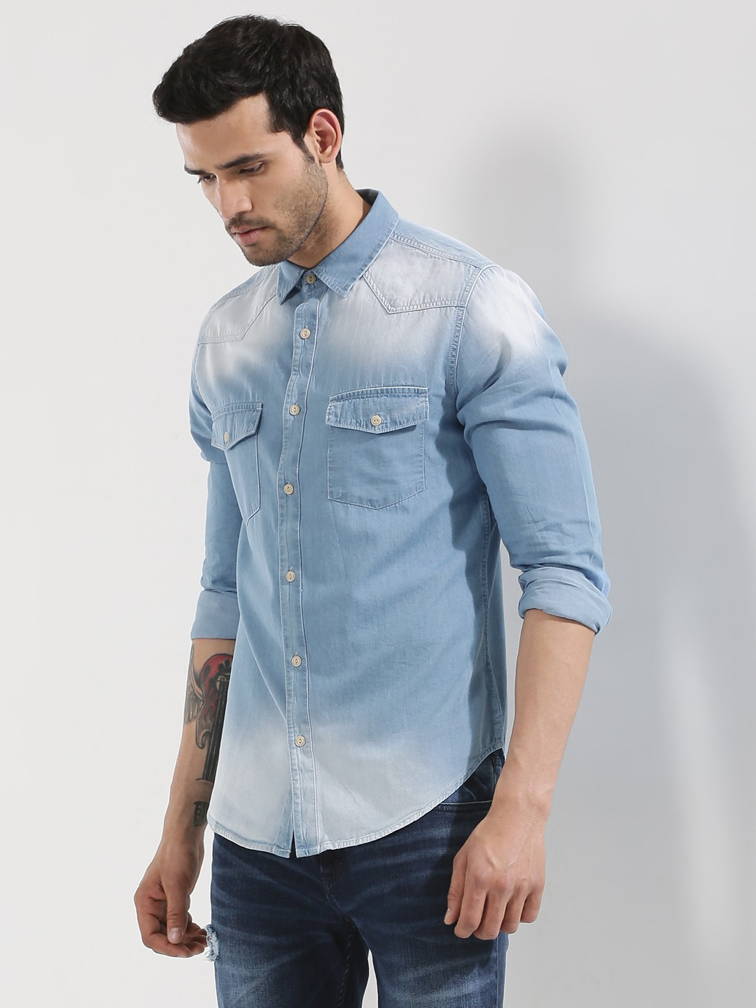 Denim shirts for men are also available in colors like dark metal, jet black or ice blue We have a little something in our top wear collection to satisfy the comfort and style aspirations of all our customers, whether a slim fit or regular fit shirts, from plain shirt or semi formal, don't look any further and shop online with us at Bewakoof.