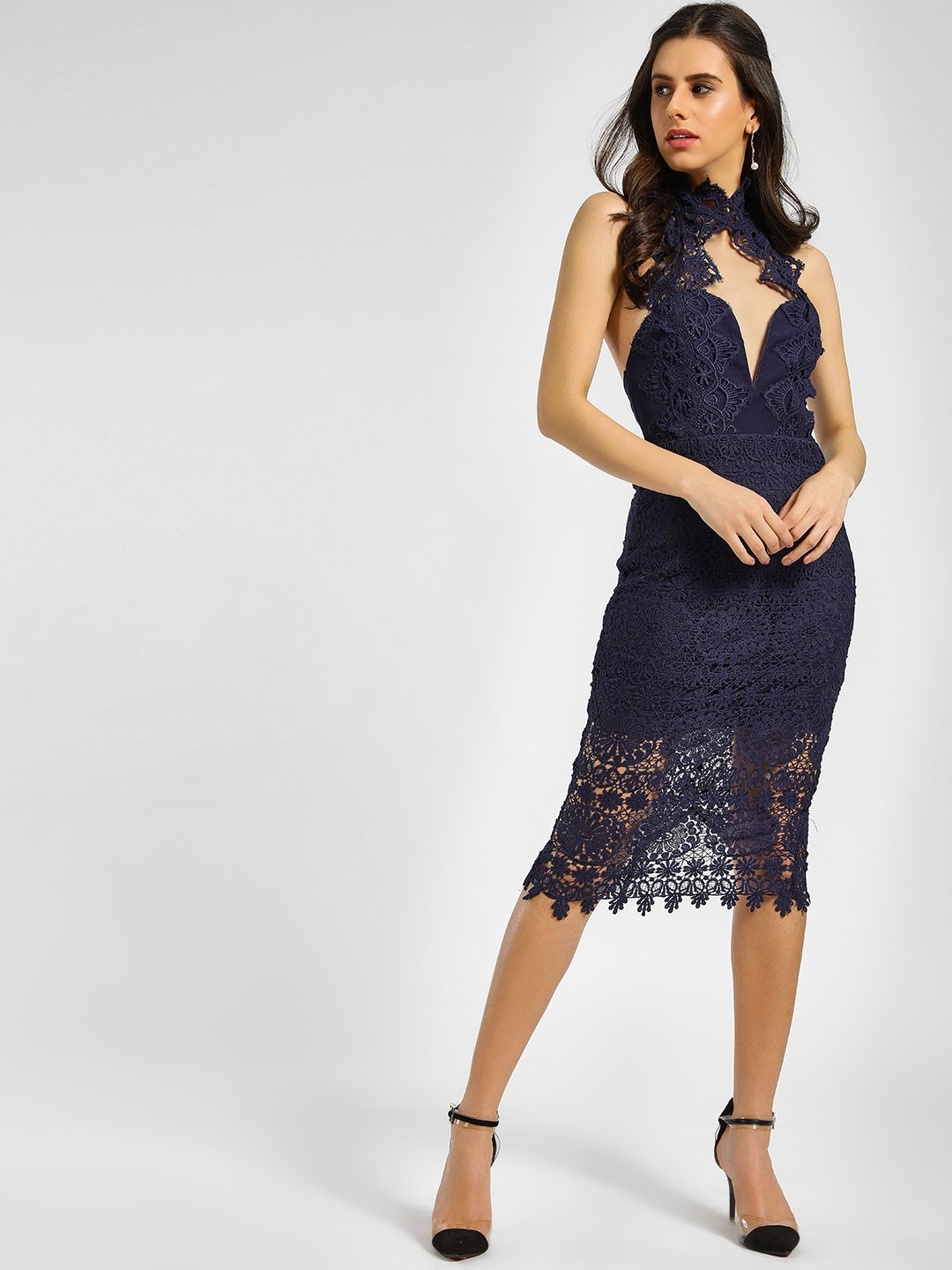 Love Triangle Navy Cutwork Lace Bodycon Dress 1