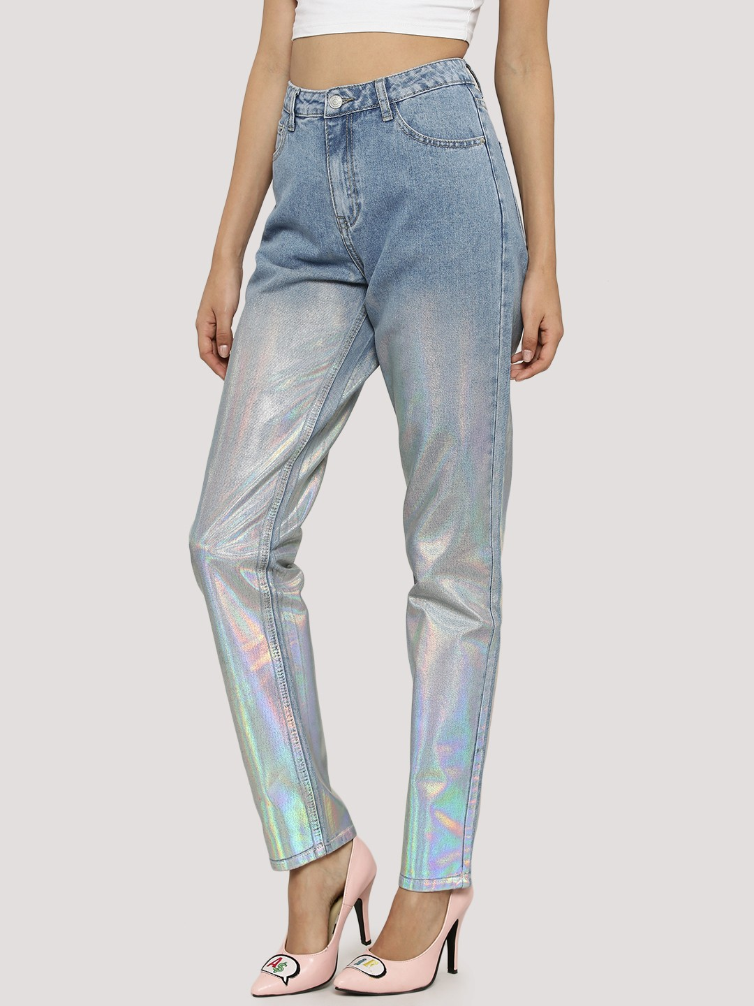 Buy Glamorous Light Blue Wash Holographic Jeans For Girls