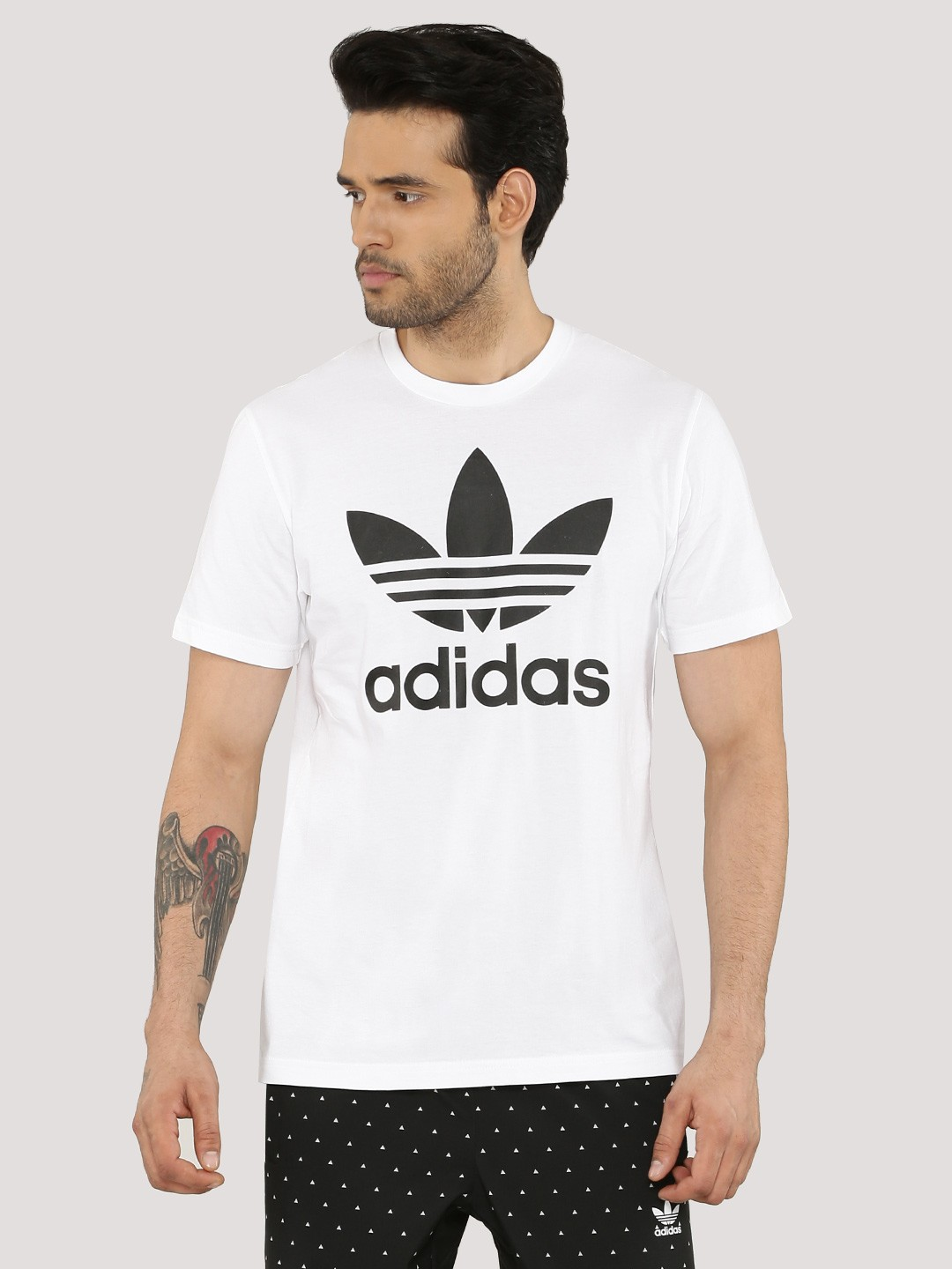Buy trefoil t shirt for men men 39 s white t shirts online for Adidas lotus t shirt