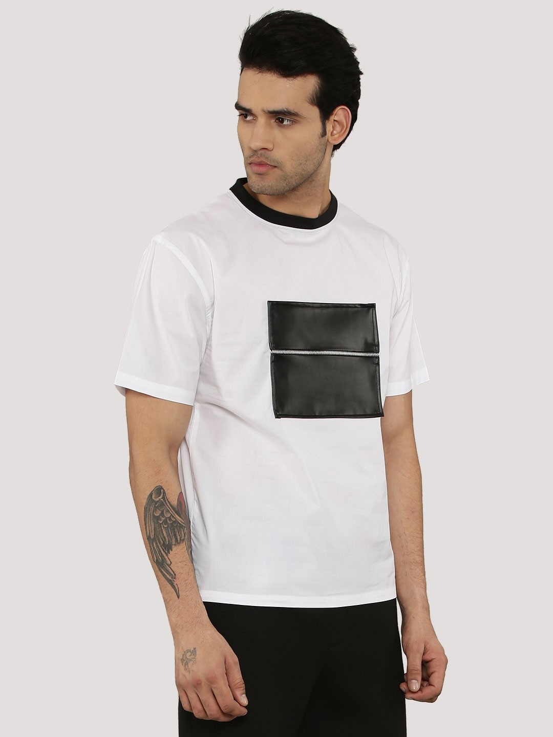 Mr Button White T-Shirt With Front PU Zip Patch 1