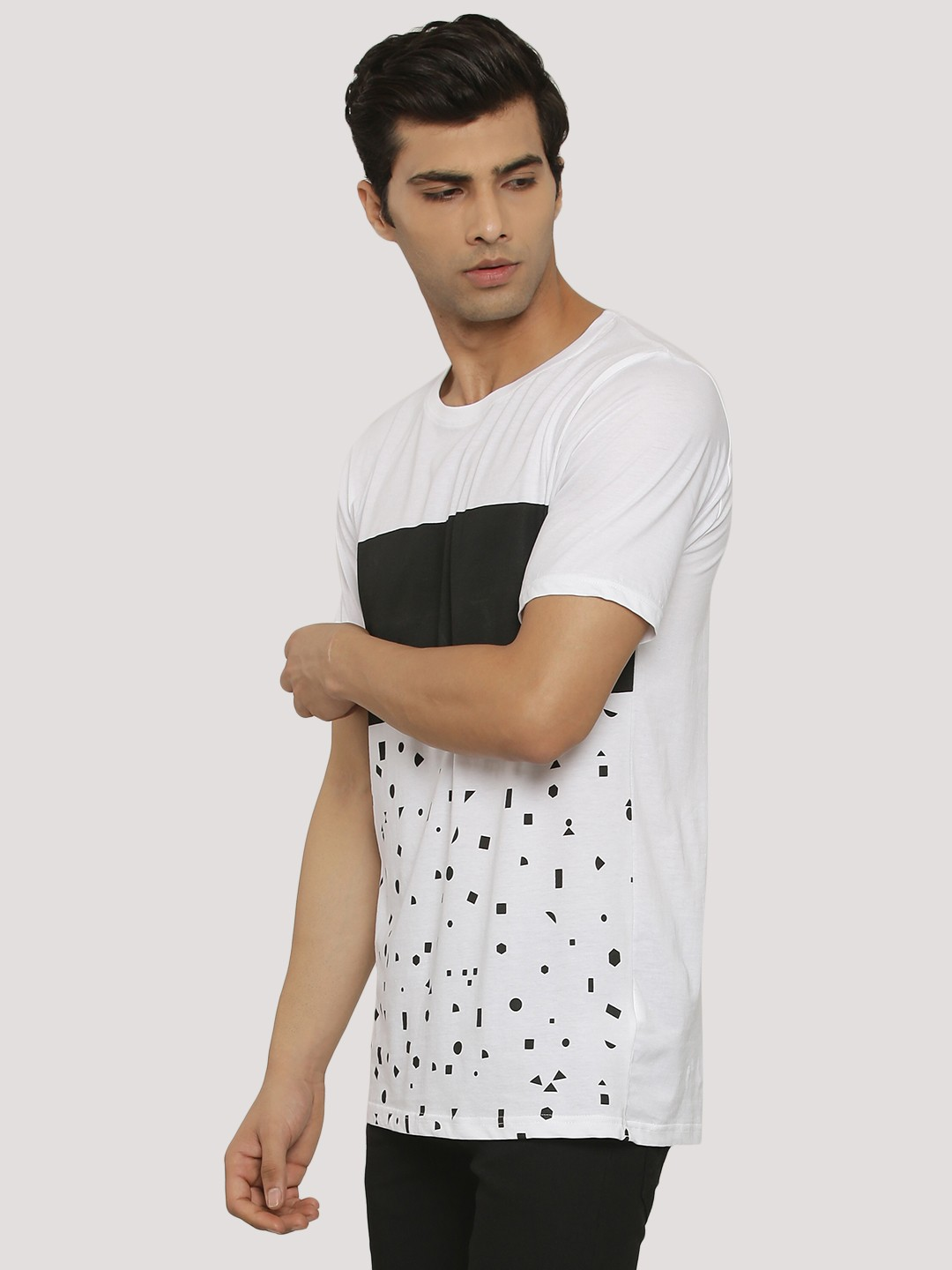 Adamo London WHITE/BLACK Printed T-Shirt With Block Panel 1