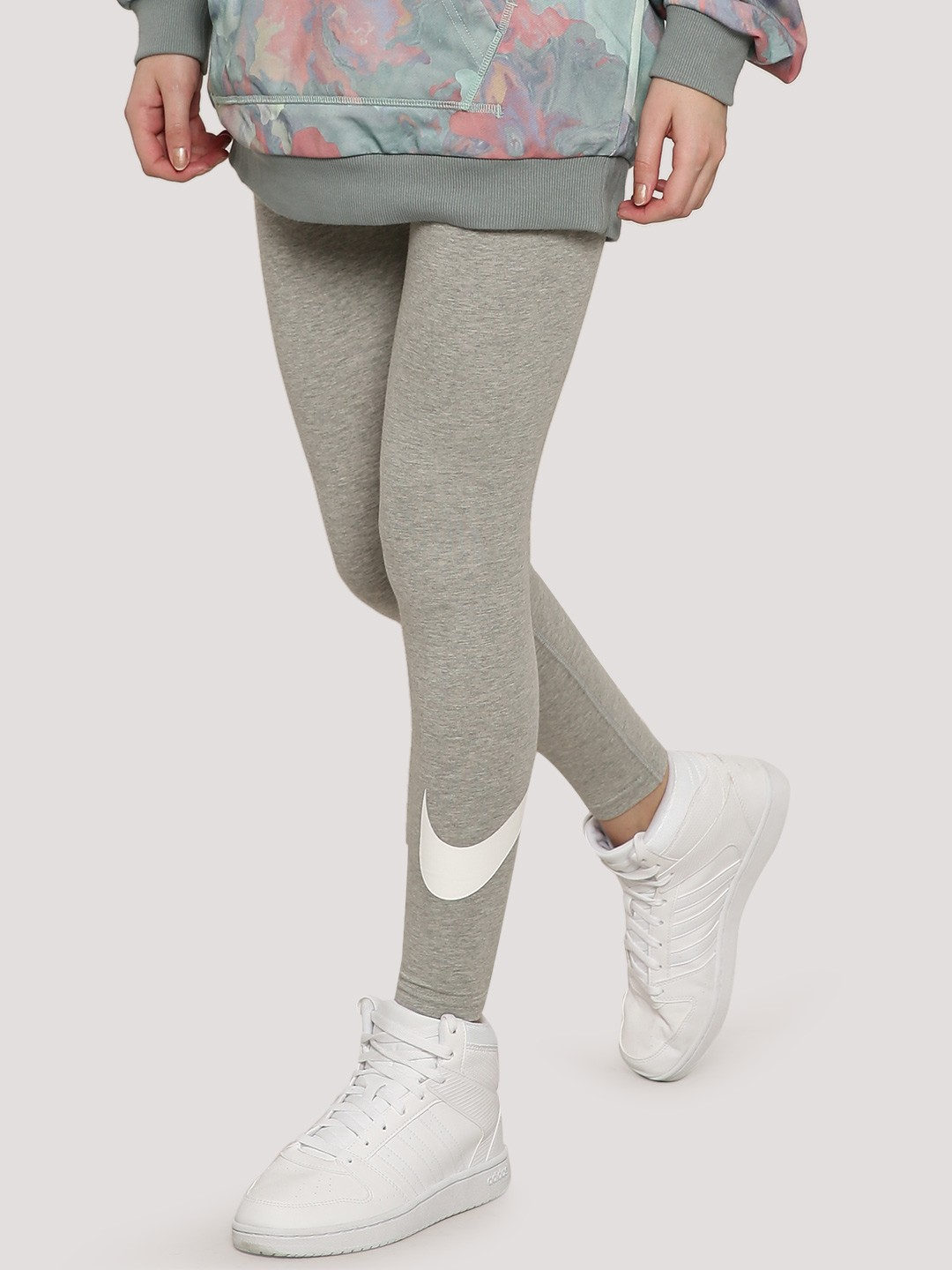 Nike GREY HEATHER/WHITE Melange Logo Leggings 1