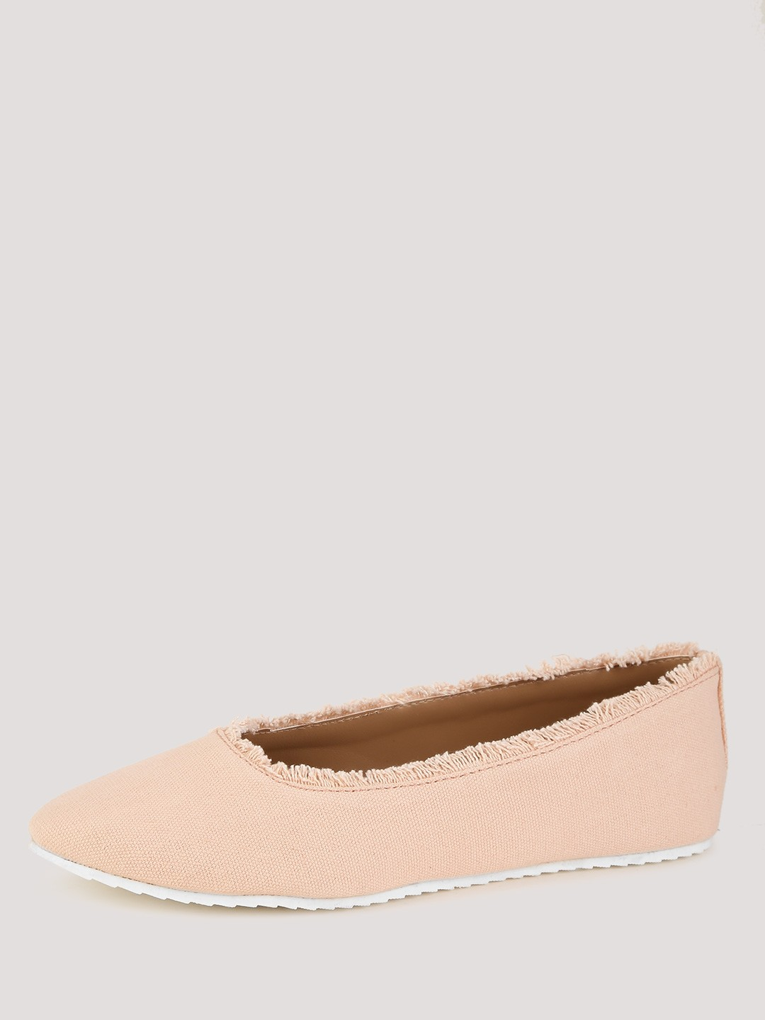 Buy Koovs Nude Frayed Edge Almond Toe Ballerinas For Girls Online In India-7656