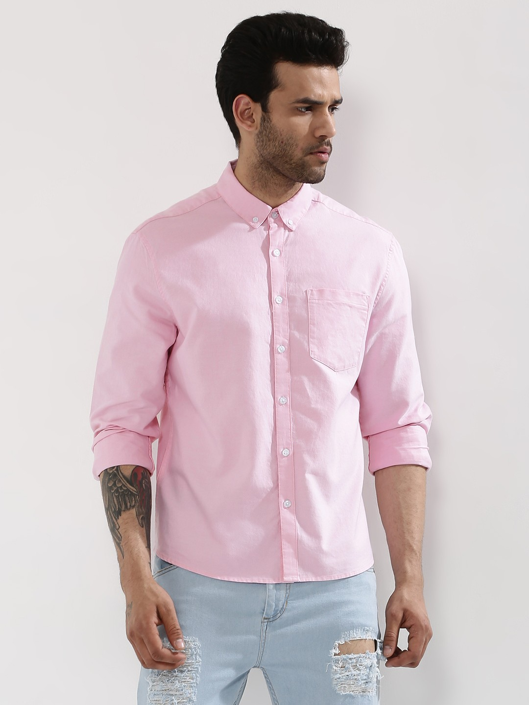 Buy oxford shirt for men men 39 s pink casual shirts online for Pink oxford shirt men