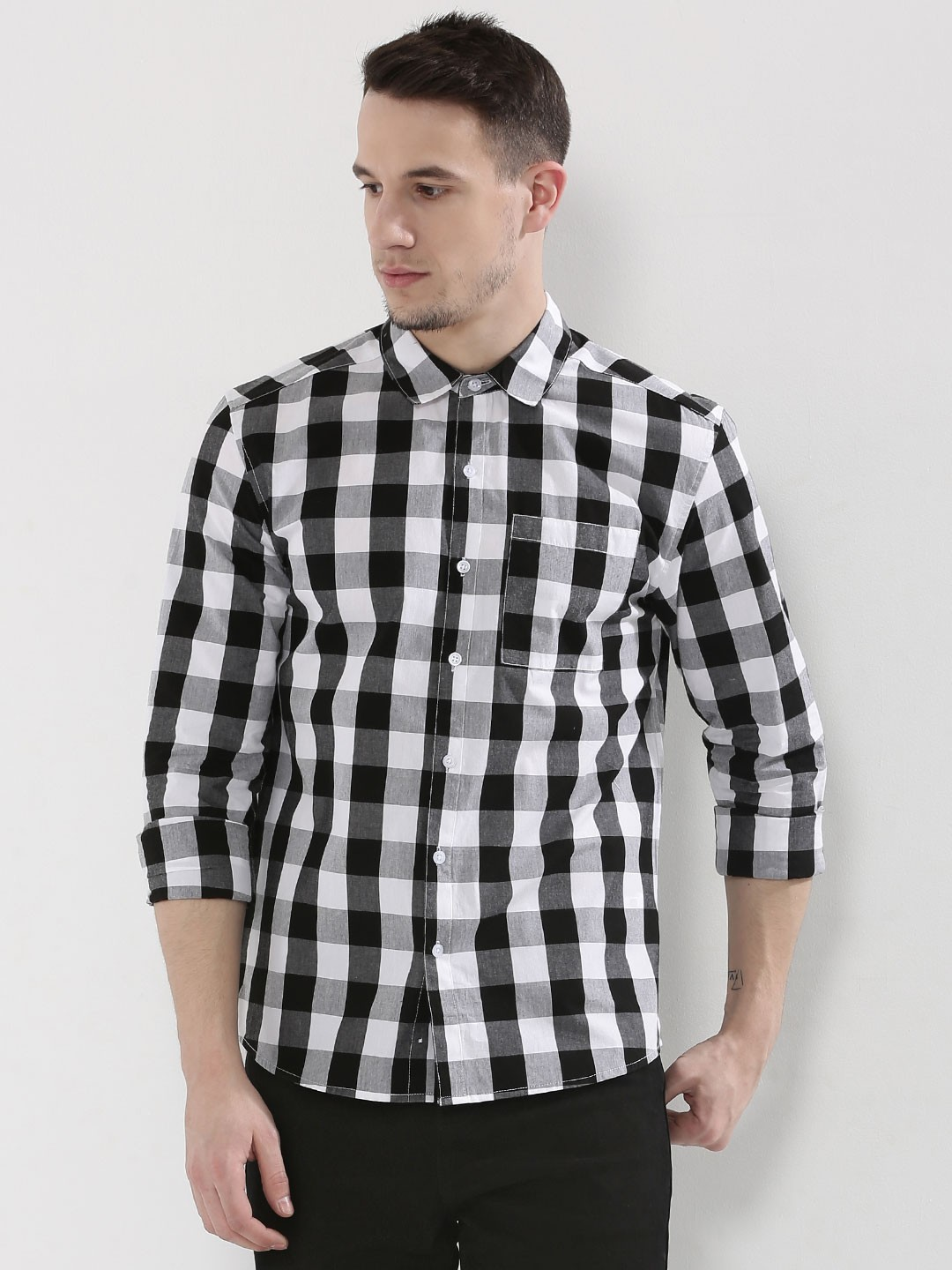 buy large grid check shirt for men men 39 s black white