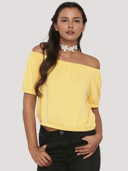 KOOVS Elasticated Off Shoulder Top