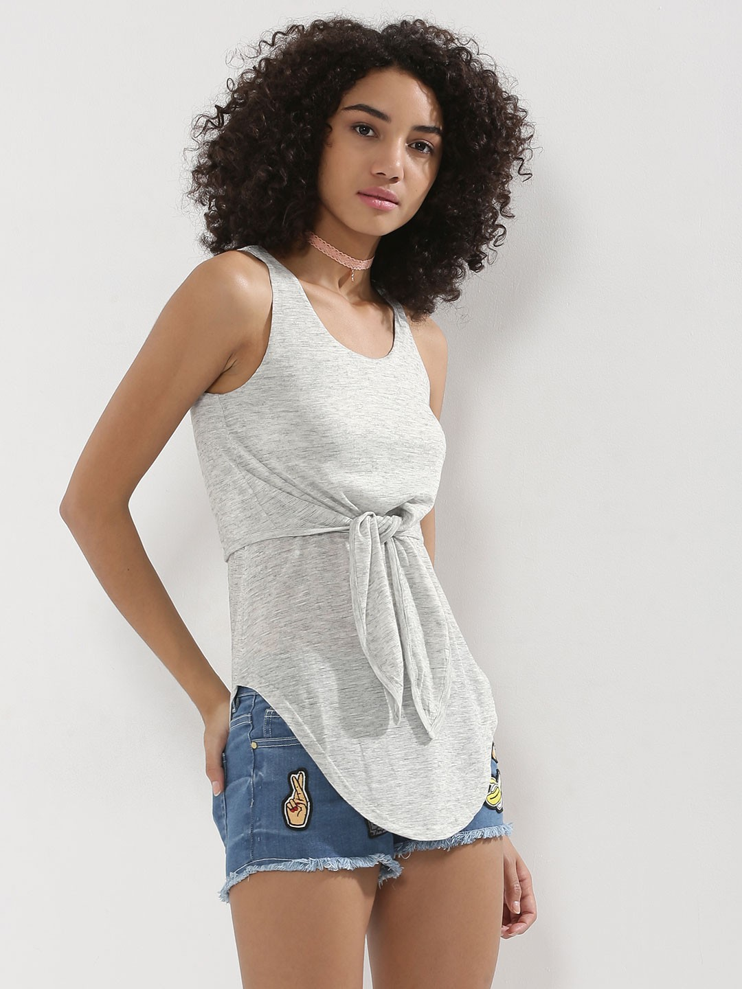 KOOVS Grey Knot Front 2-in-1 Vest Top 1