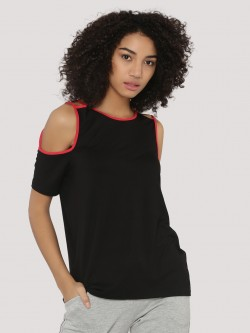 KOOVS Cold Shoulder Cage Strap Top