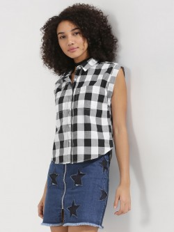 KOOVS Rollback Sleeveless Check Shirt