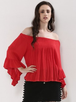 KOOVS Flair Sleeve Bobble Trim Off Shoulder Top