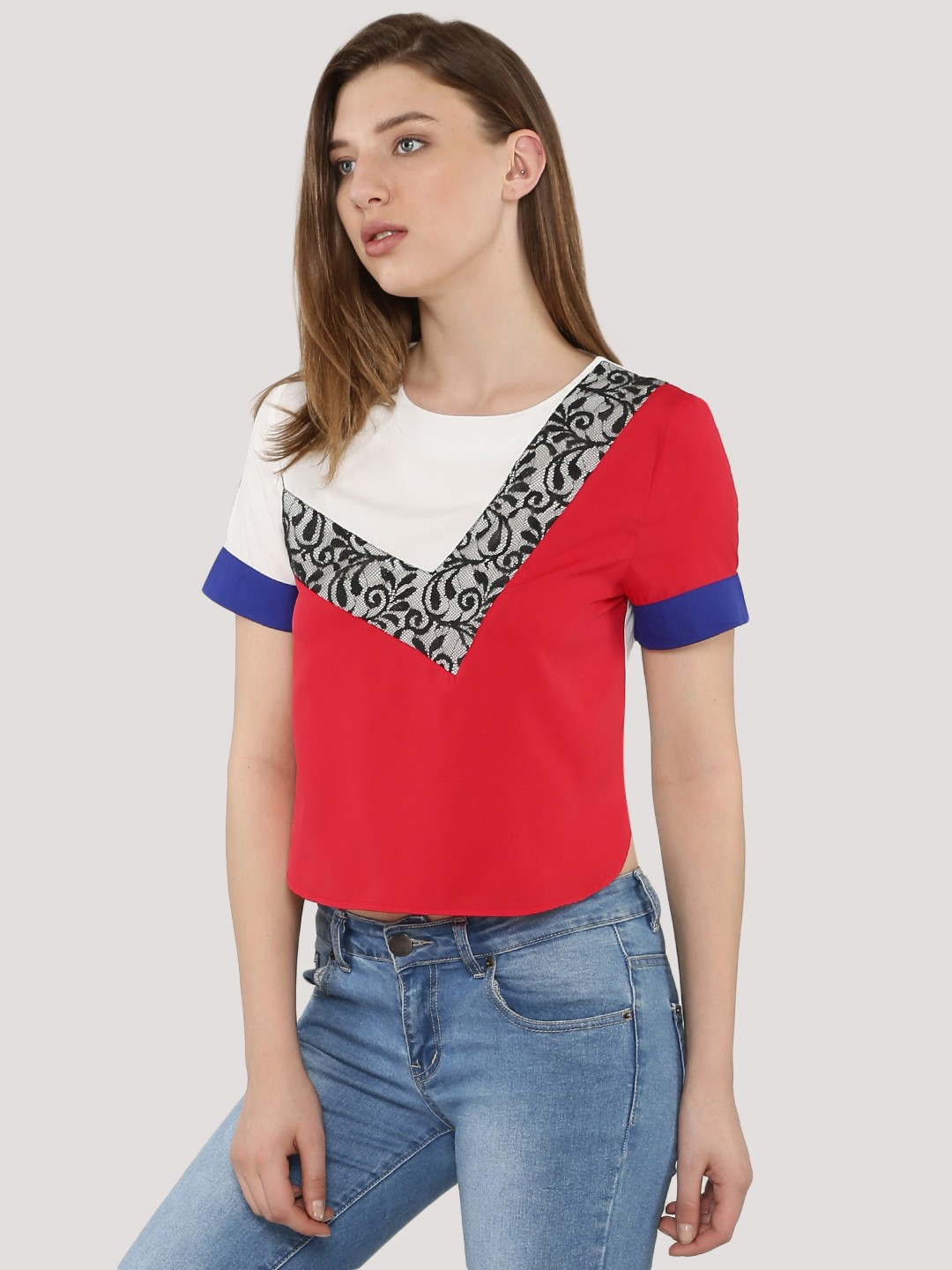 KOOVS Multi Colour Block With Lace Boxy Top 1