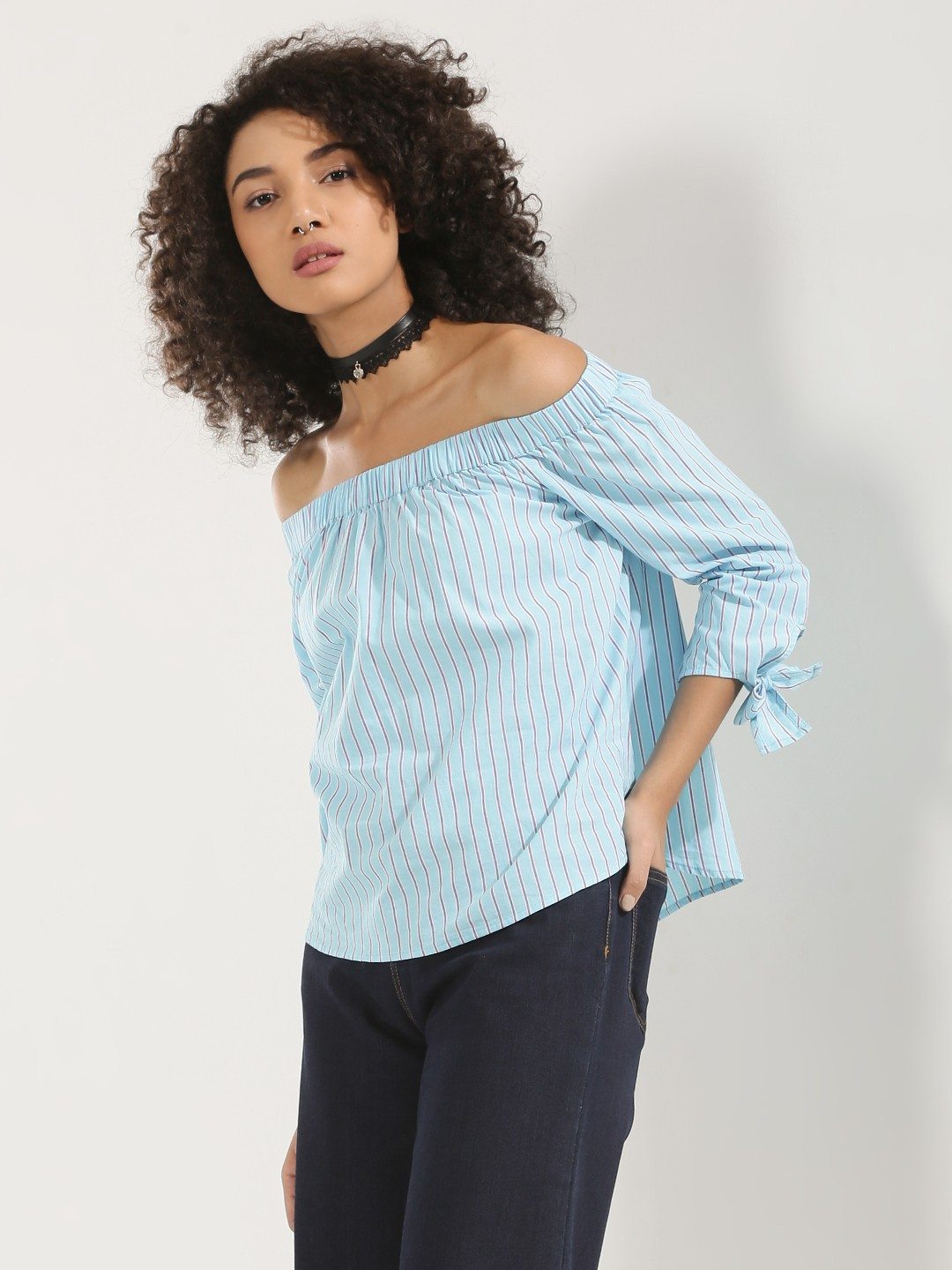 KOOVS Multi Tie Sleeve Off Shoulder Top 1