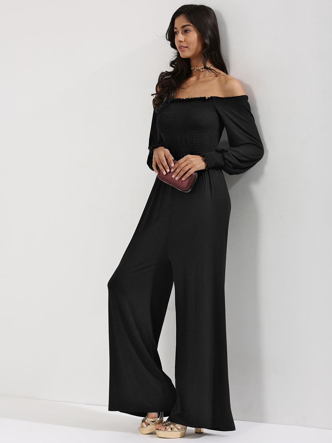 KOOVS Black Cold Shoulder Wide Leg Jumpsuit 1