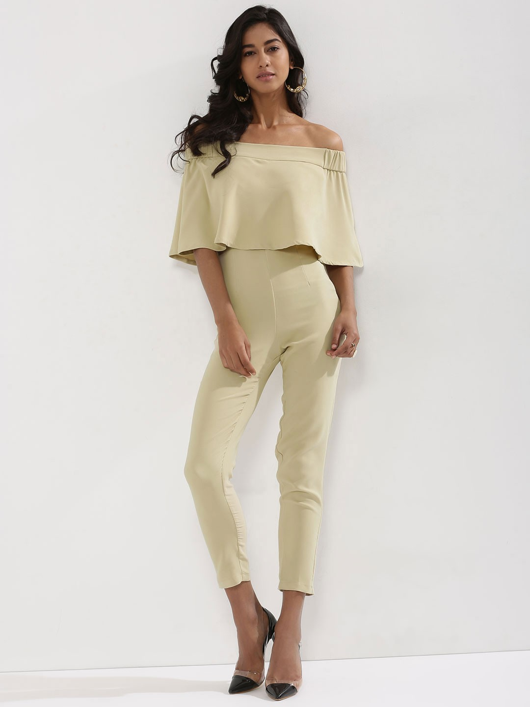 KOOVS Beige Overlay Off Shoulder Jumpsuit 1