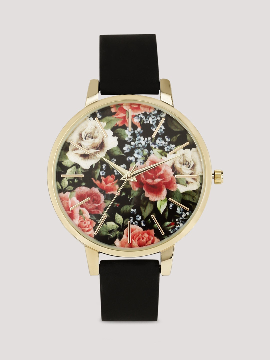 New Look Black Romantic Floral Dial Watch 1