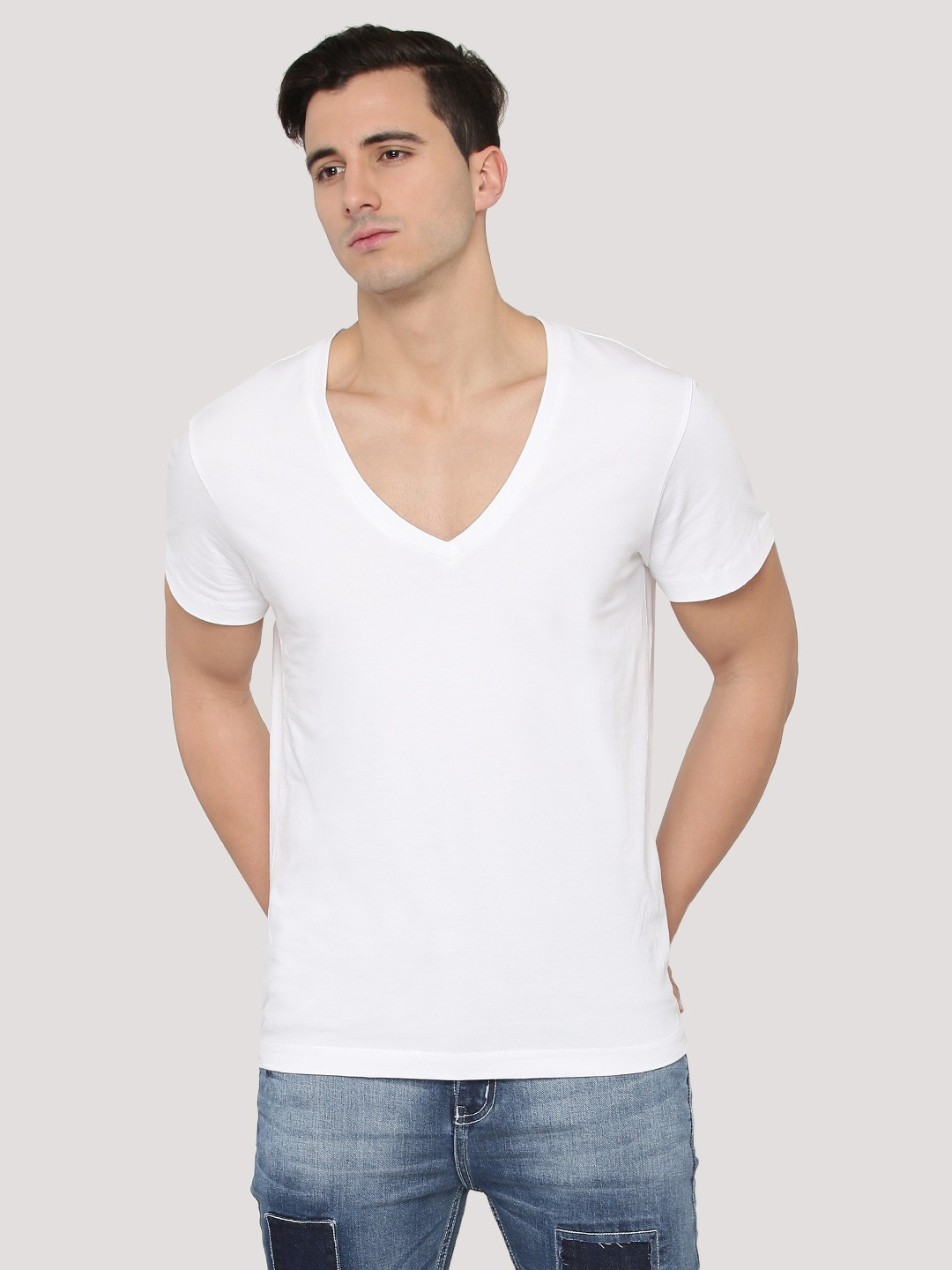 Buy Deep V Neck Muscle Fit T Shirt For Men Men 39 S White T