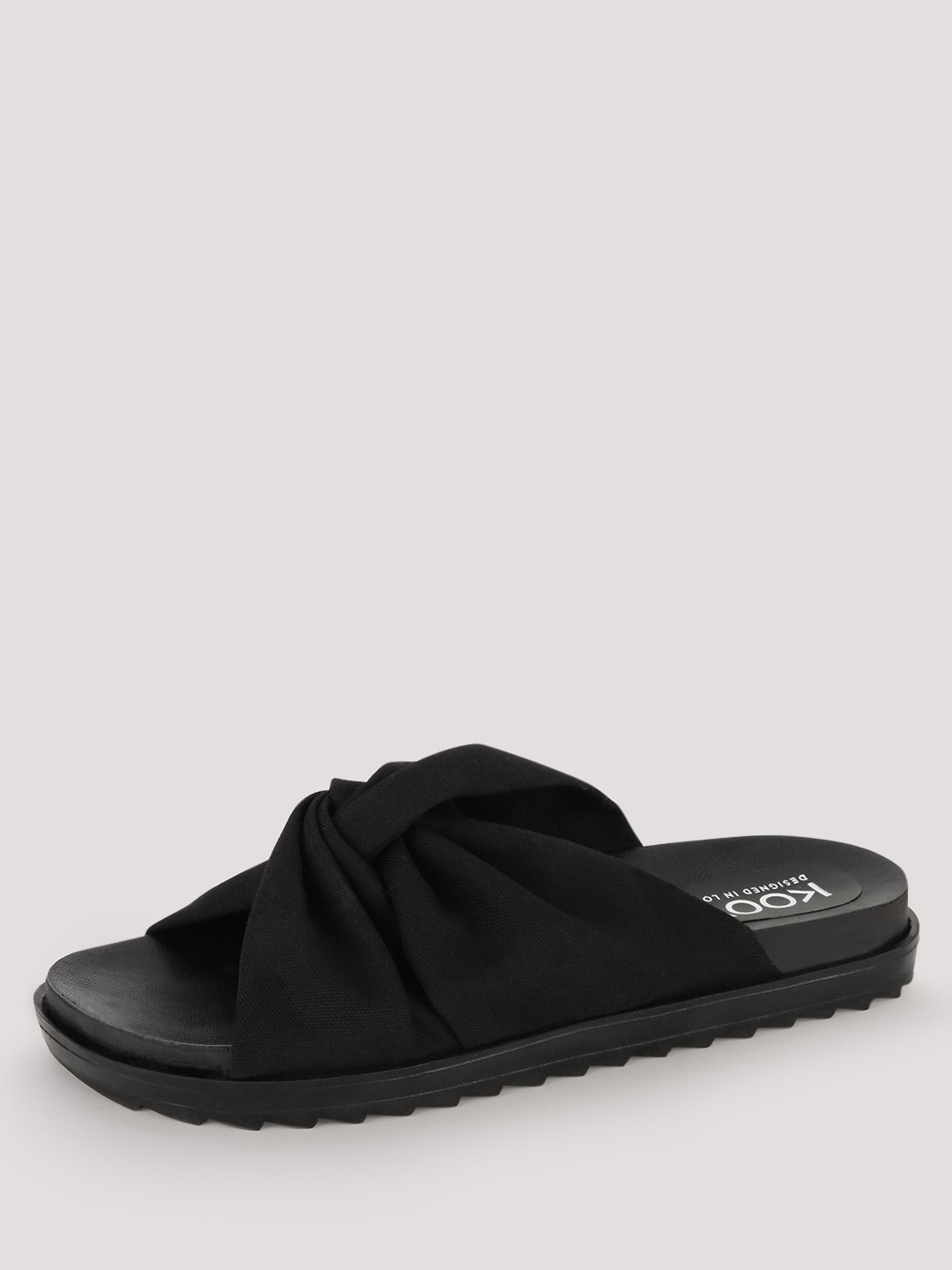 KOOVS Black Rouched Knot Sliders 1