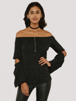 Oliv Bardot Elbow Cut Out Lurex Top