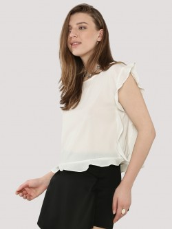 KOOVS Ruffle Edge Boxy Top