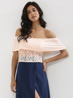 KOOVS Lace Off Shoulder Top