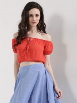KOOVS Cropped Off Shoulder Top