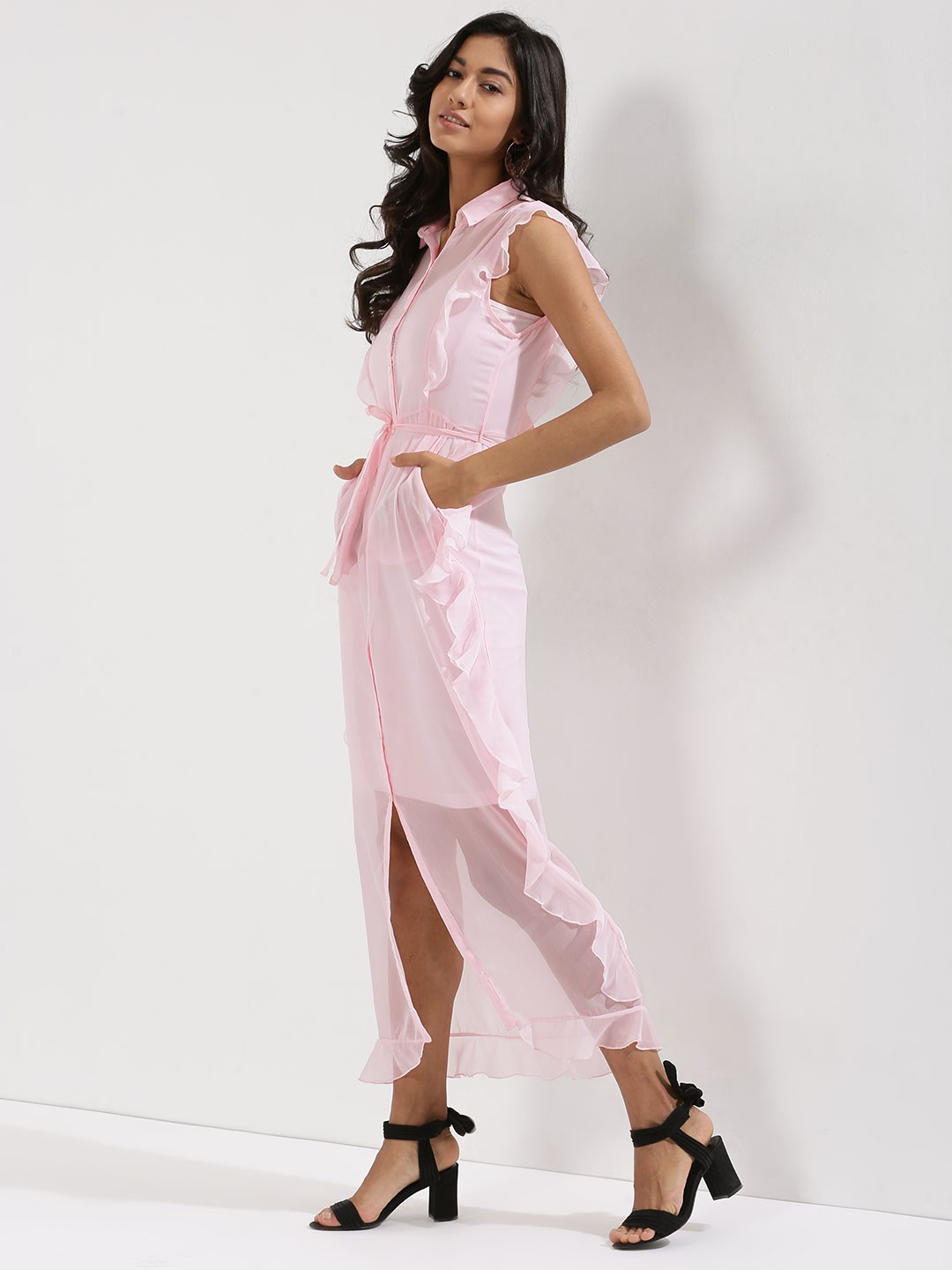 KOOVS Pink Ruffle Tie Waist Shirt Maxi Dress 1