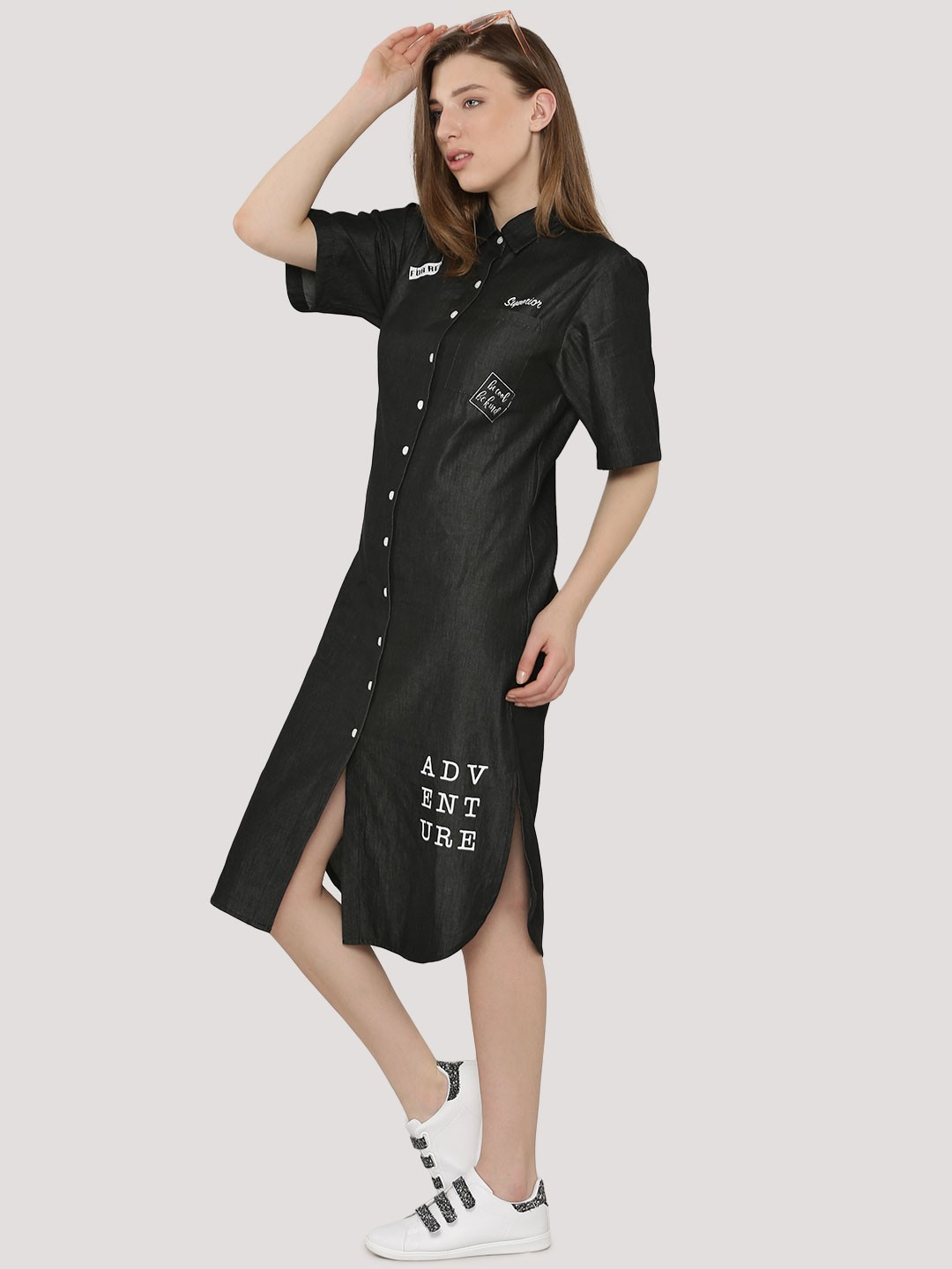 Buy slogan patch print black denim shirt dress for women for Where to buy a dress shirt