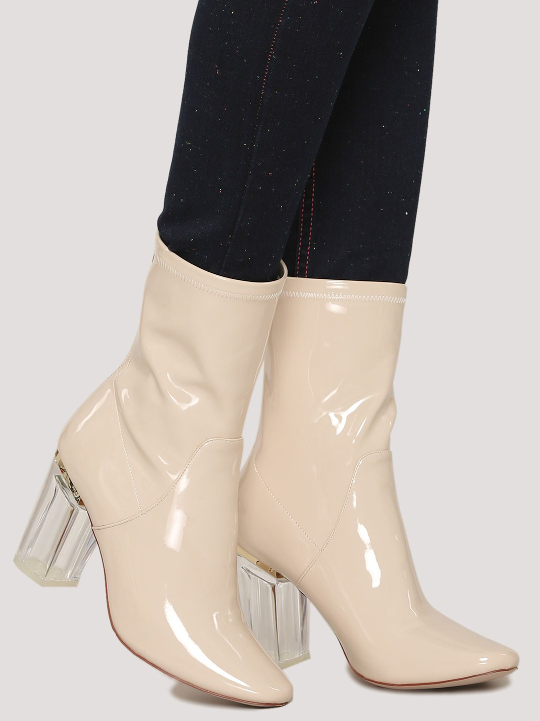 Buy Velvet Army Nude Boots With Perspex Heels For Girls Online In India-4911