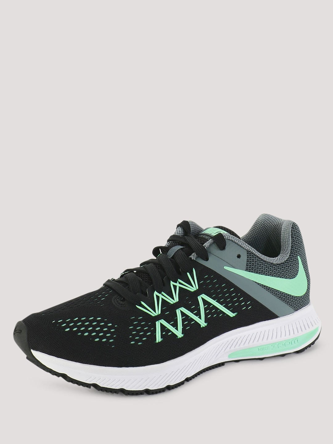 lowest price 9936b f220e Buy Nike Black/Green Women Zoom Winflo 3 Running Shoes for ...