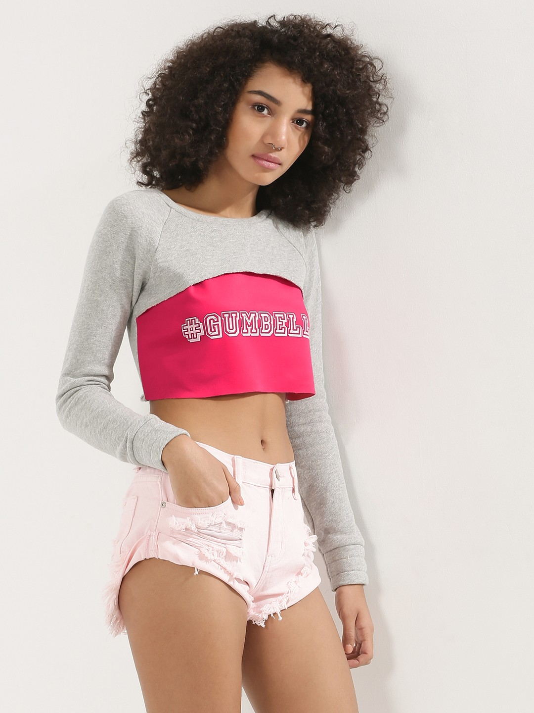 MASABA X KOOVS Grey Gumbell Slogan 2 In 1 Cropped Sweatshirt 1
