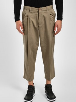 Adamo London Twill Cropped Wide Leg Chinos