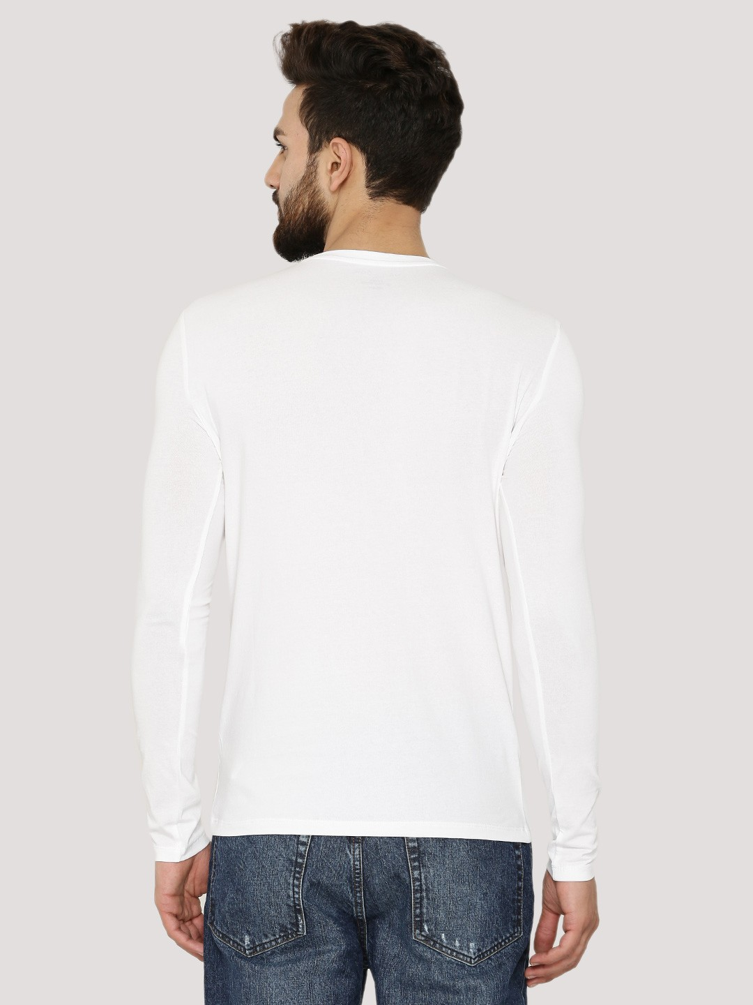 Buy basic cotton elastane long sleeves t shirt for men for Cotton and elastane t shirts