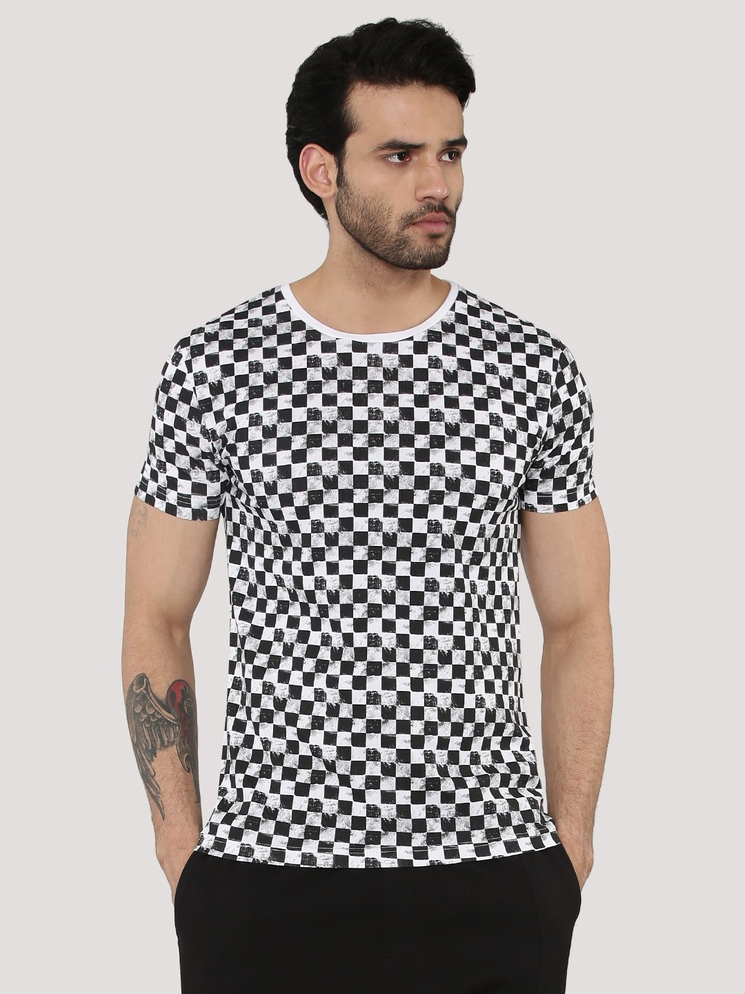 Buy F2000 By Flying Machine White Checkered Print T-Shirt ...