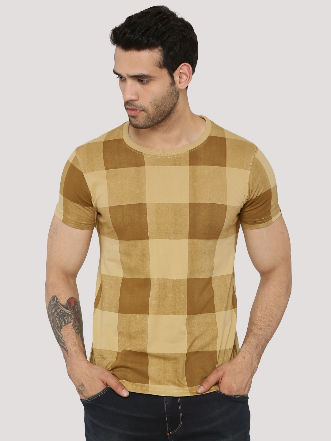 Buy Blotch Nude Check T-Shirt For Men Online In India-5675