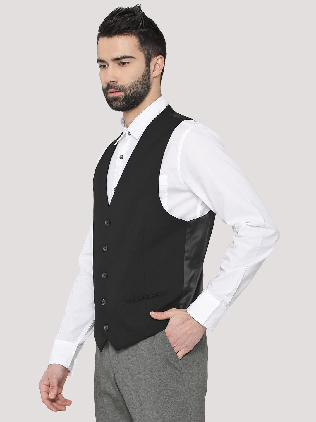 laest technology really cheap exceptional range of colors Buy New Look Black Smart Suit Waistcoat for Men Online in India