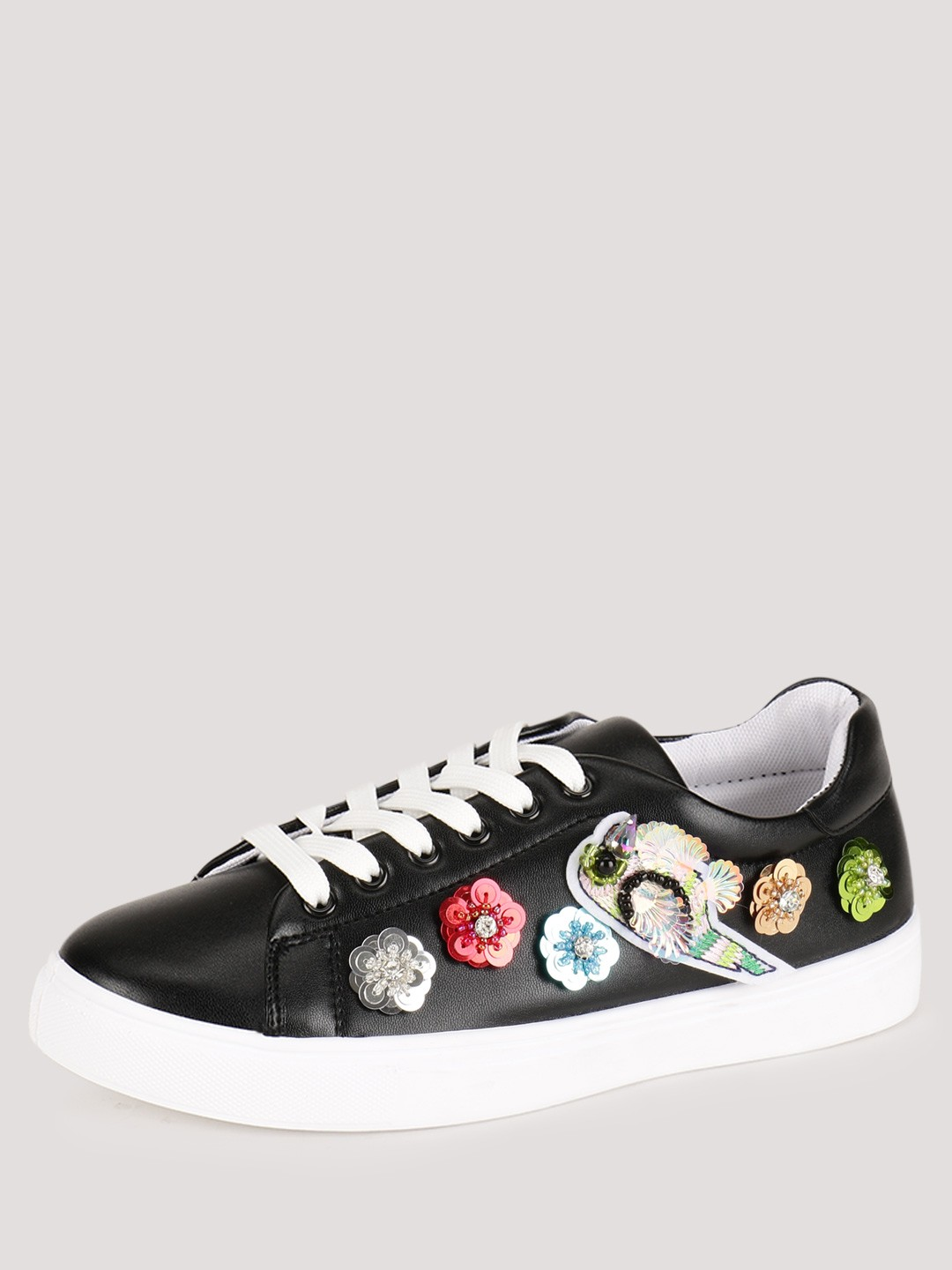 No Doubt Black Sequin Embellished Trainers 1