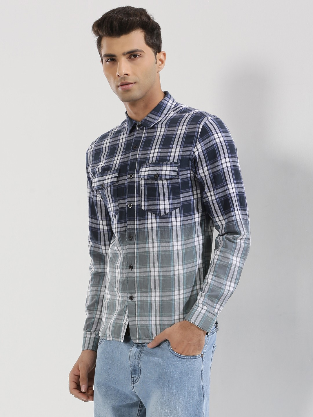 KOOVS Multi Bleached Check Shirt In The Style Of Lewis Hamilton 1
