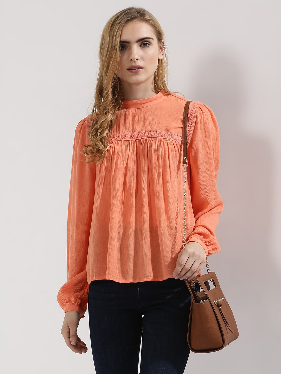 Buy Koovs Orange Gather Yoke Swing Top For Girls Online In