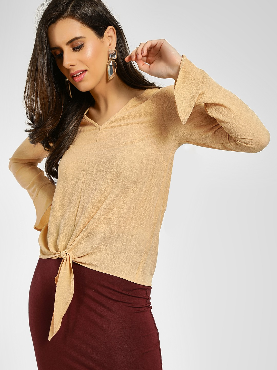 KOOVS Brown Textured Front Knot Blouse 1