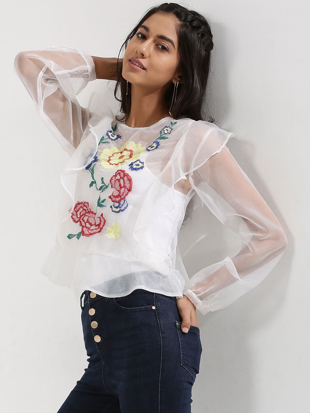 Rena Love Sheer Organza blouse with embroidery 1