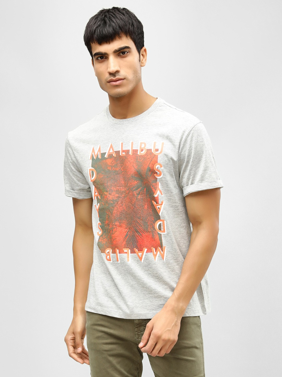 KOOVS Grey Slogan Printed T-Shirt 1