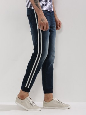 Buy Being Human Mid Tone Denim Joggers With Side Stripe