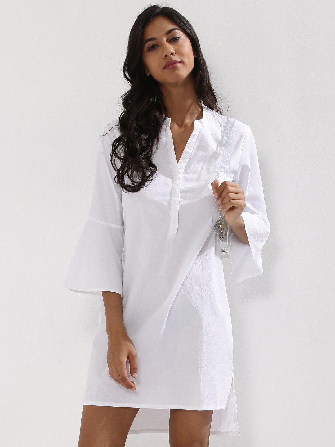 Buy flute sleeve shirt dress for women women 39 s white for Buy white dress shirt