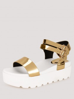 My Foot Couture Metallic Sandals With Chunky Sole