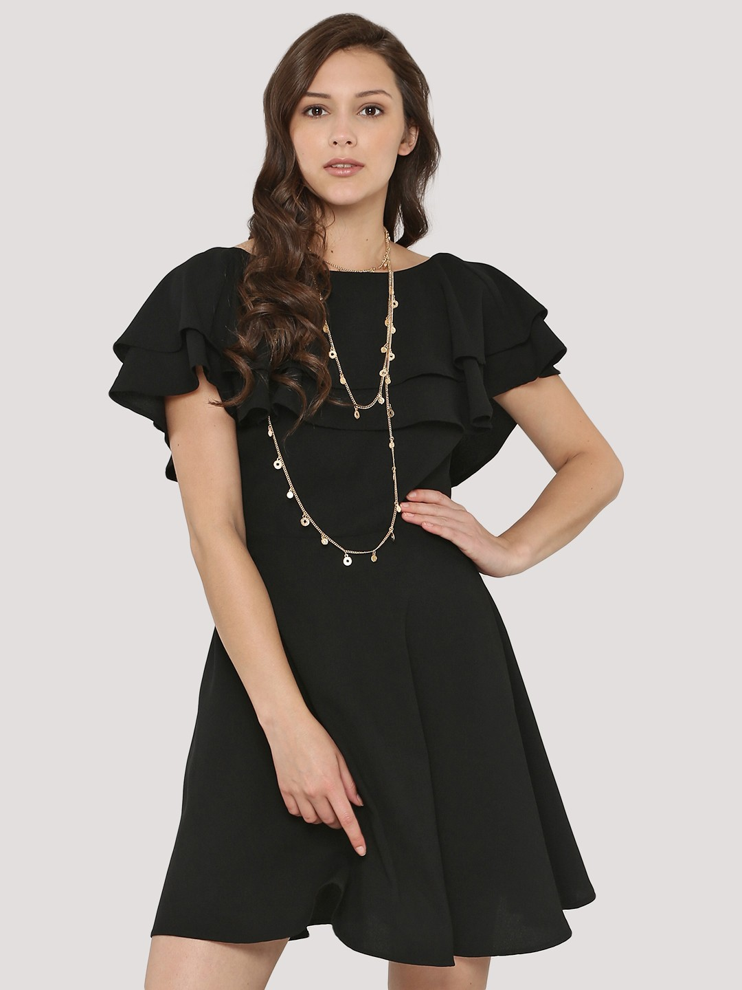 Buy Femella Front Ruffle Top For Women: Buy Femella Black Double Layer Fit And Flare Dress For