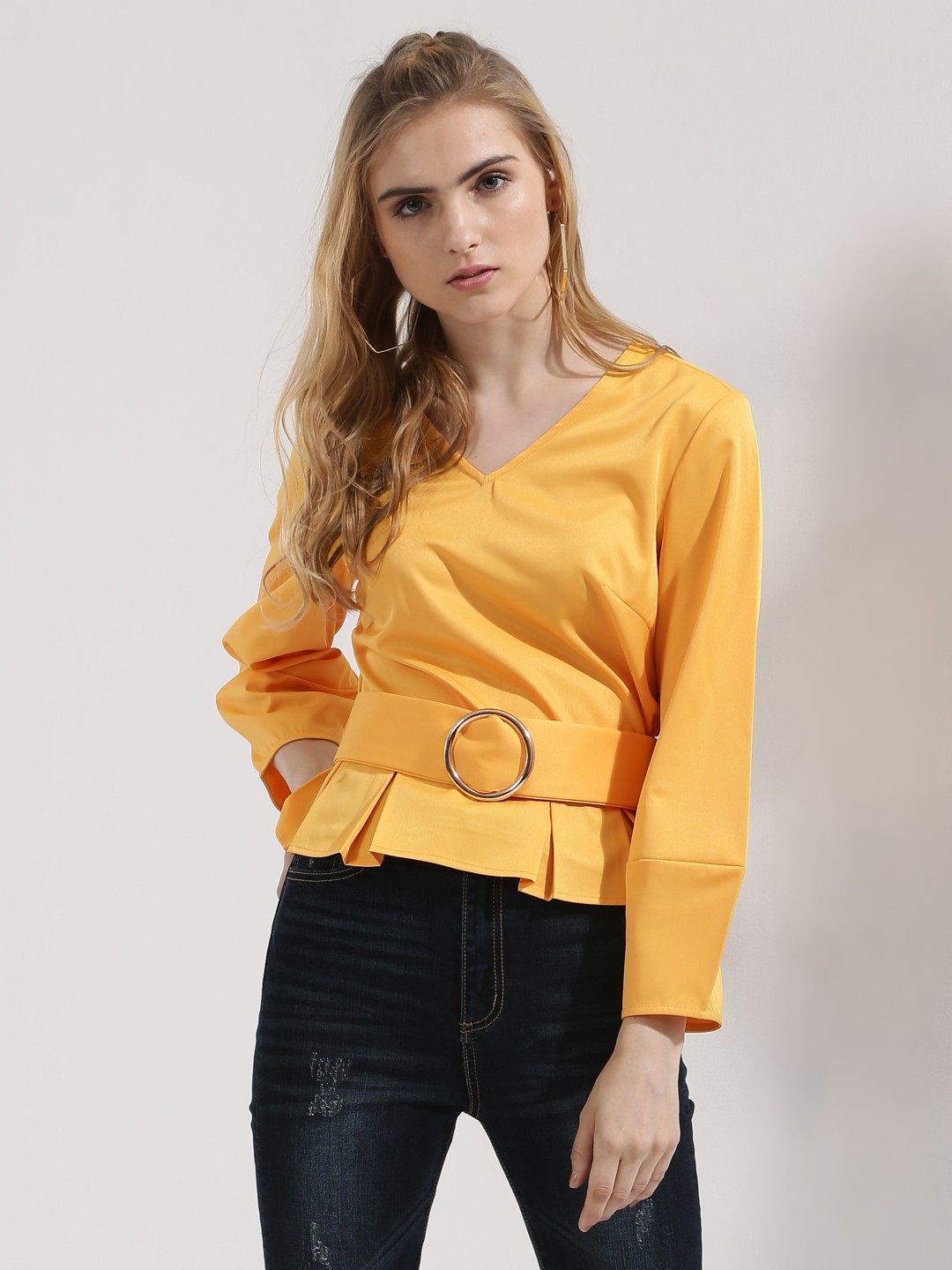 Origami Lily Orange Top With Metal Ring Belt 1